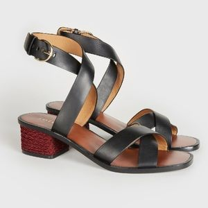 Joie Rana Leather Ankle Strap Sandals Black Red